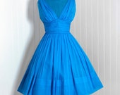1950's Vintage Turquoise-Blue Draped Silk-Chiffon Couture Shelf-Bust Plunge Illusion Grecian-Goddess Full Circle-Skirt Bombshell Party Dress