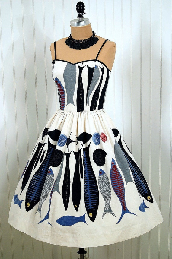 Items similar to 1950 39 s vintage serbin designer couture for Fish print dress