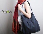 Sale 20% OFF-Ready To Ship- Pleated Bag in Dark Grey with adjustable strap tote/messenger /handbag/shoulder bag/casual/purse/For Her - 017