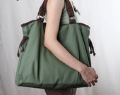 Sale 20%OFF-Ready To Ship-Ringopie Everyday Canvas Tote in green/laptop bag/shoulder bag/diaper/purse/school bag/handbag/women/For Her-048
