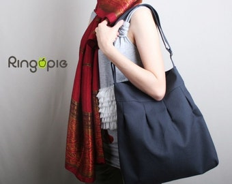 Sale 20% OFF-Ready To Ship- Pleated Bag in Dark Grey with adjustable strap/messenger bag/handbag/shoulder bag/casual bag/tote/For Her - 017