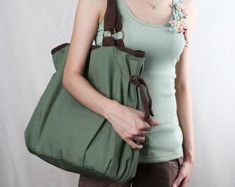 Sale 30%OFF-Ready To Ship-Ringopie Everyday Canvas Tote(green)/shoulder bag/handbag/school bag/laptop bag/diaper bag/women/purse/For Her-048