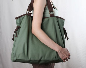 Sale 20%OFF-Ready To Ship-Ringopie Everyday Canvas Tote in green/laptop/shoulder/diaper/purse/school/bags/handbags/totes/women/For Her-048