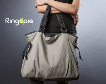 Sale 20%OFF-Ready To Ship-Ringopie Everyday Canvas Tote(light gray)/diaper bag/school bag/shoulder bag/handbag/purse/laptop bag/For Her-050