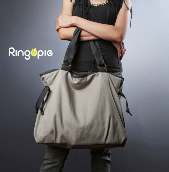 Sale 20%OFF-Ready To Ship-Ringopie Everyday Canvas Tote(light gray)/diaper/school/shoulder/handbags/purse/laptop/bags/women/For Her-050