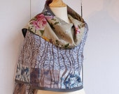 Nessie's Rose Garden - reversible cotton shawl\/wrap