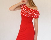 FREE SHIPPING - Vintage-inspired red dress with white polka dot