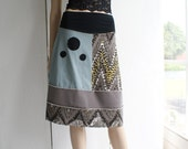 SALE - Christmas in July - A- line jersey skirt in black, celadon, light taupe and grey - LAST ONE