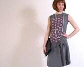 SALE - 20s dress, flapper dres, art deco fashion - dark grey sleeveless with pink roses - handmade by ThongbaiTatong - LAST one