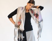 Scarf extra long Artsy Cozy Wrap- a textile collage in grey and purple by Thongbai Tatong