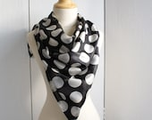 SALE, Silk scarf polka dot in chic black and white by Thongbai Tatong