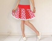 SALE, Mini skirt  cute young and young at heart for summer in red and white