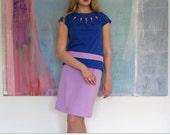 1960s inspired dress set of royal blue shirt and purple skirt, mod dress, vintage inspired 60s dress aline skirt, cap sleeve top