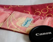 Camera Strap Cover with Padding and Lens Cap Pocket - Botanical and Bubbles