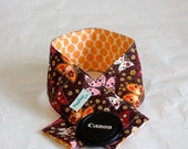 Camera Neck Strap Cover with Padding and Lens Cap Pocket - Garden Butterflies and Full Moon