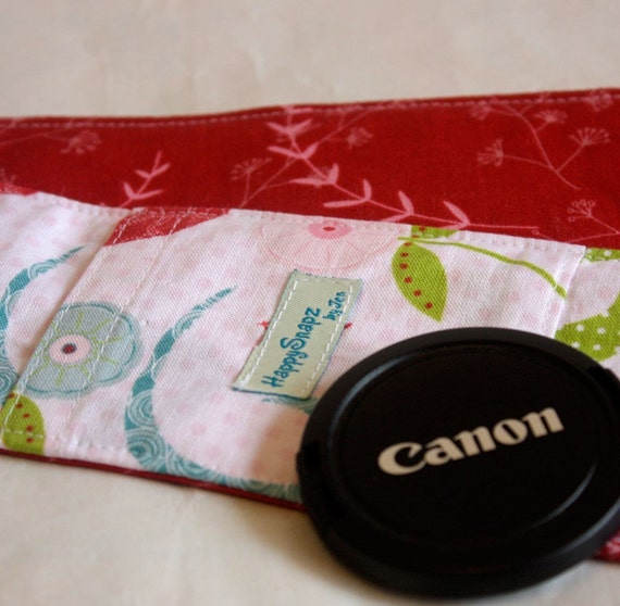 Camera Strap Cover with Padding and Lens Cap Pocket - Love Birds and Leaves