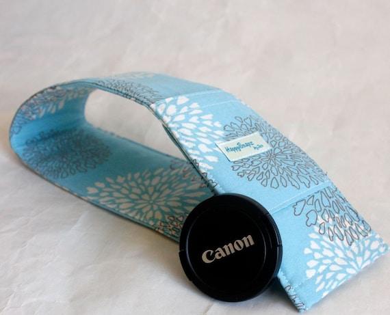 NEW Camera Strap Slipcover Pretty Petals in Aqua   FREE Padding and Lens Cap Pocket