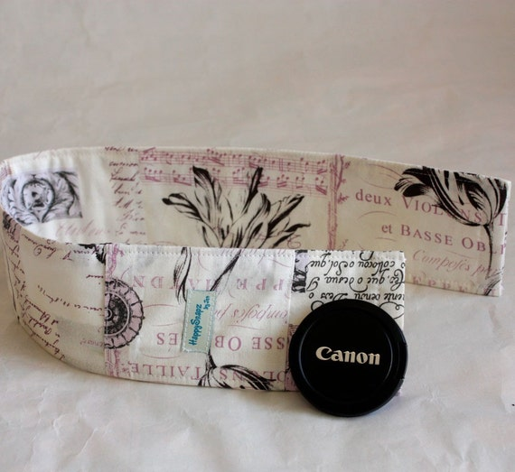 Camera Strap Cover with Padding and Lens Cap Pocket - Ephemeral Antiquity in Plum