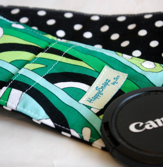 Padded Camera Strap Cover with  Lens Cap Pocket - Kelly Mod Swirl and Dumb Dot
