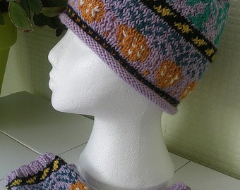 Pineapple and Palm trees Hand Knitted Wool Beanie and Fingerless Gloves