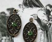 Pretty Heraldic Oval Drops With Peridot Chaton - Other Colors Available