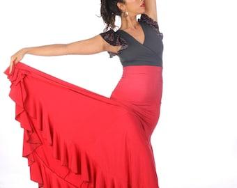 ALEGRIA flamenco skirt, Flamencita design,spanish classic skirt. Tribal fusion skirt.