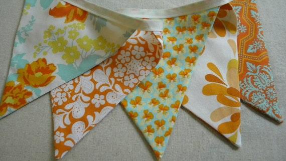 Aqua/Tangerine  Fabric Banner/Fabric Bunting/Fabric Flags/Photo Prop/Birthday Party/Nursery Decor/Home Decor/Vintage Fabric