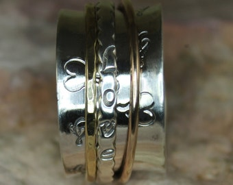 "Spinner Ring ""Love"" with Brass & Bronze"