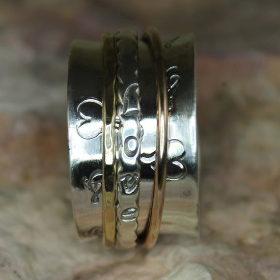 "Back to School Sale take 15% off with ""15NOW"" Aug 27th - Sept 17th  Spinner Ring ""Love"" with Brass & Bronze"