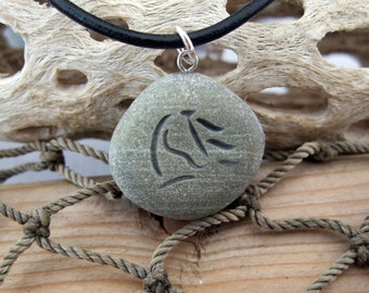 Horse Waves - engraved Beach Stone Pendant - A horse lover's Necklace