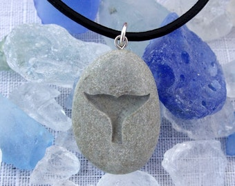 a Whale's Tail  - engraved Beach Stone Pendant - talisman of Freedom love and Joy necklace