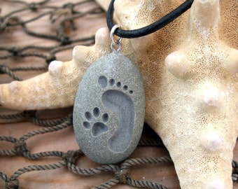 Footprint and Cat Paw Forever Friends - engraved Beach Stone Pendant Jewelry
