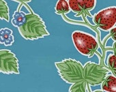 Oilcloth, Strawberries on Sky Blue