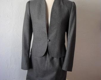 Vintage Suit Dove Grey Pinstripe Pure Wool