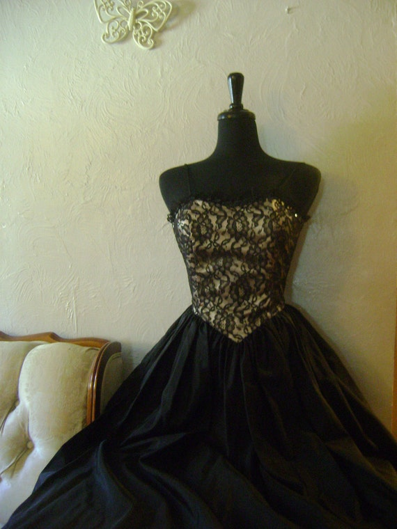 Black Taffeta Gown with Witch Costume potential