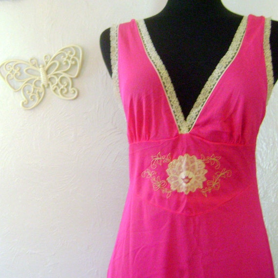 Vintage Nightgown in Raspberry with Ecru Lace Deco
