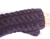 Purple Fingerless Mitts with Cables