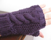 Purple Cable and Seed Stitch Fingerless Mitts