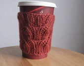 Rust Fancy Cable Knit Coffee Cup Cozy, Rust Knit Coffee Sleeve, Knit Mason Jar Cozy