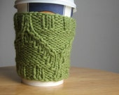 Fern Green Diagonal Twist Knit Coffee Cup Cozy, Vegan Cozy, Cozies Mug, Mason Jar Cozy, Coffee Sleeve