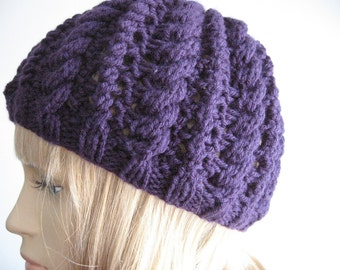 The Scarlett Beanie, Purple Cables and Lace Knit Beanie, Womens Hat, Purple Knit Hat, Vegan Hat, Knit Accessories