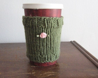 Sage Green with Pink Satin Rosebud Knit Vegan Cozy, Knit Coffee Cup Cozy, Knit Mason Jar Cozy