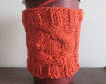 Orange Round Cable Knit Coffee Cup Cozy Knit Coffee Sleeve Knit Mug Cozy, Gift For Her