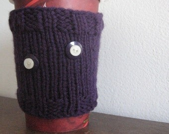 Purple Double-Buttoned Coffee Cup Cozy, Knit Coffee Sleeve, Mason Jar Cozy, Eco Friendly Cozy