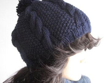Navy Cable and Seed Stitch Knit Hat with Pom Pom, Vegan Knits, Knitwear, Navy Slouchy Beanie Hat, Knit Pom Beanie