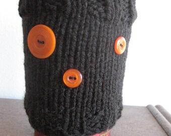 Black 3-Button Knit Coffee Cup Cozy, Knit Coffee Sleeve, Knit Mason Jar Cozy