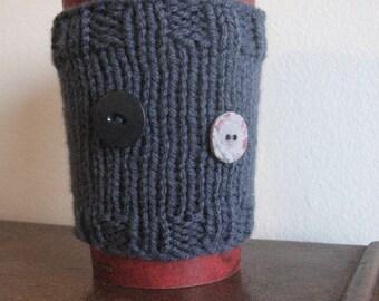 Knit Coffee Cozy, Steel Blue 2-Button Coffee Cup Cozy, Vegan Knits, Mason Jar Travel Mug Cozy, Knit Coffee Sleeve