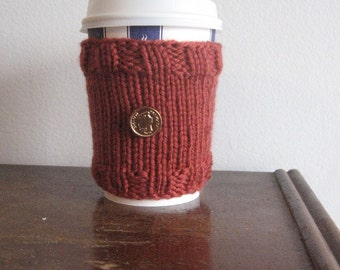 Rust Gold Coin Button Knit Coffee Cup Cozy, Stocking Stuffer, Mason Jar Cozy, Knit Cup Cozy, Knit Coffee Sleeve, Knitted Mug Cozy