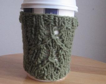 Sage Green Leaf Lace Knit Coffee Cup Cozy Knit Coffee Sleeve Green Mug Cozy