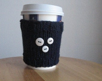 Navy with 3 Buttons Coffee Cup Cozy, Navy Knit Coffee Sleeve, White Buttons Dark Blue Knit Cup Cozy,Navy Mug Cozy